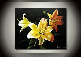 Yellow Lilies Online Shop Pure Hand Painted Oil Painting Blooming Yellow Lilies