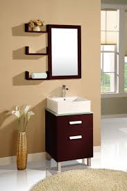 Double Sided Bathroom Mirror by Simple Dark Wood Bathroom Mirrors With Shelves And Small Dark Wood