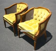 French Yellow Chair Vintage Tufted Cane Mid Century Chairs Gorgeous Pair French Cane