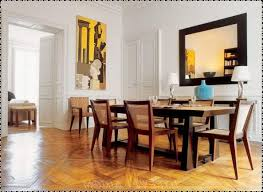 contemporary dining room idea with mirror and painting idea