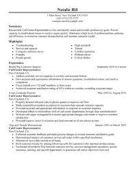 free sle resume for customer care executive centre call center customer service representative resume by natalie hill
