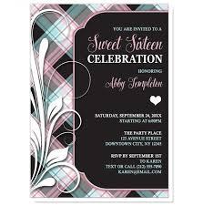 sweet 16 invitations pink blue and black plaid flourish sweet 16 invitations online at