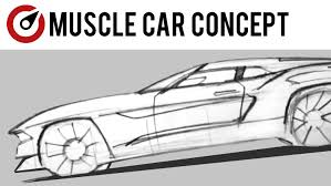 car design sketch chevy muscle car concept side profile youtube
