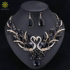 prom necklace black bridal jewelry sets gold color swan pendant necklace