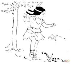 dancing first nation under a tree coloring page free