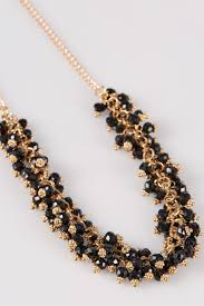 necklace with earrings set images Gold black beaded necklace earrings set jpg