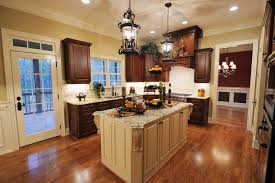 dark wood floors with medium wood cabinets in kitchen wood floors
