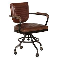Small Leather Desk Chair Brown Leather Office Chair Industrial Desk Seating Modish Living