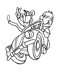 monkey driving car friend coloring download