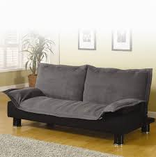 black grey fabric sofa bed with backrest and short black base on