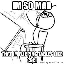 Flipping Tables Meme - im so mad that im flipping tables like ceci flip table meme