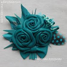 turquoise roses small leather brooch with a bouquet of roses emerald turquoise