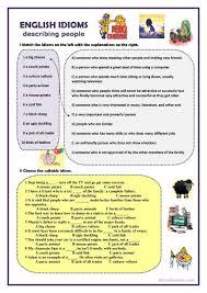 7 free esl people idioms worksheets
