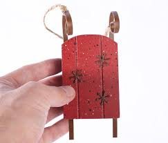 wooden sled with rustic accents ornament ornaments