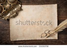 parchment writing paper antique blank parchment on aged wooden stock photo 535046896