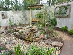 river rock garden landscape eclectic with dry creek bed brown