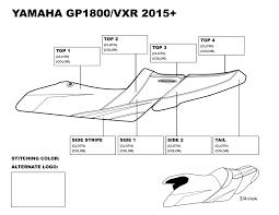 riva yamaha gp1800 2015 vxr seat cover black blue stitching