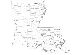 Louisiana State Map by Graphics Us States Outline With County Lines County Names Maps