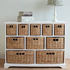 tetbury wide storage chest with wicker baskets bedroom furniture