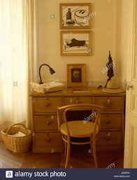 Small Pine Desk Bentwood Chair And Small Pine Desk Below Pictures In Corner Of