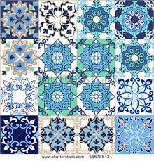 moroccan wrapping paper gorgeous seamless patchwork pattern blue moroccan stock vector