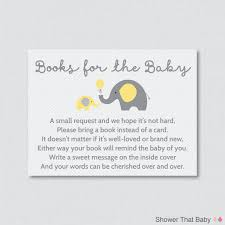 Baby Shower Announcement Wording Elephant Baby Shower Bring A Book Instead Of A Card Invitation