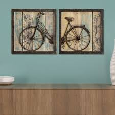 Home 2 Home Decor Home Decor Distressed Bicycle Wall Decor 2 Piece Set