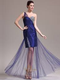 navy blue one shoulder beading tulle prom dresses with sheer