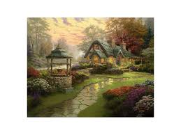 make a wish cottage painting by kinkade