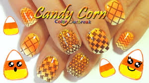 halloween nail art designs candy corn gradient nails stamping