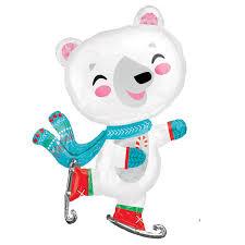 Large Polar Bear Christmas Decorations by Ice Skating Polar Bear Extra Large Supershape Christmas Balloon