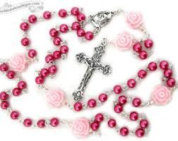 pink rosary pink rosary etsy