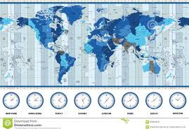 World Map Of Time Zones world standard time zones map stock vector image 60739872