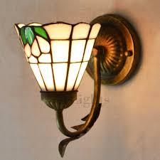 Stained Glass Wall Sconce Bronze Wrought Iron Fixture Stained Glass Wall Sconces