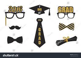 graduation 2016 elements set collection gold stock vector