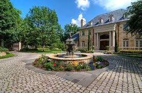 exterior design outdoor fountain in traditional landscape with