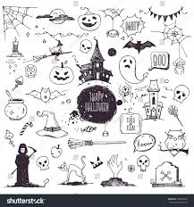hand drawn halloween traditional symbols doodle stock vector