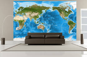 detailed world satellite map pacific rim view world pacific rim satellite image wall map mural in room