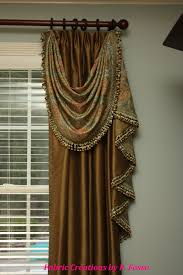 Raw Silk Drapery Panels by Drapery Swag And Jabot Over Euro Pleated Panels Draperies