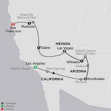 Arizona California Map by Nevada Arizona U0026 California Tour Cosmos Travel