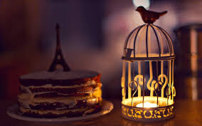 cake eiffel tower mood candle birds cream light wallpaper cake