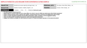 Barista Job Description Resume by Starbucks Barista Resumes Samples