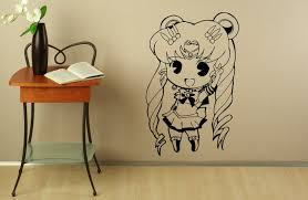 d243 sailor moon wall decal manga anime vinyl sticker japanese easily adhesive straight to the wall door mirror or any smooth surface you want made with high quality removable and waterproof pvc