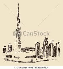 vector clipart of dubai city skyline hand drawn engraved vector