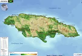 jamaica physical map physical map