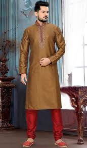 kurta colors evoke a vibe of confidence and zest in this brown color silk