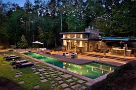luxurious decoration of pool house designs with longe benches also