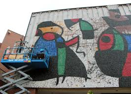 conservator to discuss restoration of miro mural personnages members of russell marti conservation services mount panels of the iconic miro mosaic mural on the ulrich museum of art