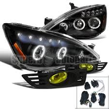 2004 honda accord headlights for 2003 2005 honda accord 2dr coupe projector headlight black fog