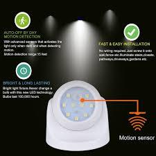 long range motion detector light 360 led battery power indoor outdoor garden motion sensor security